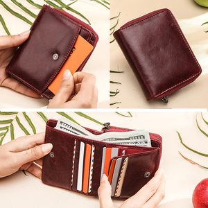 Image 2 - Small Women Wallet Female Purse Genuine Leather Wallets Red Rfid Coin Purse Mini Card Holder Money Bag Clutch Carteira Feminina