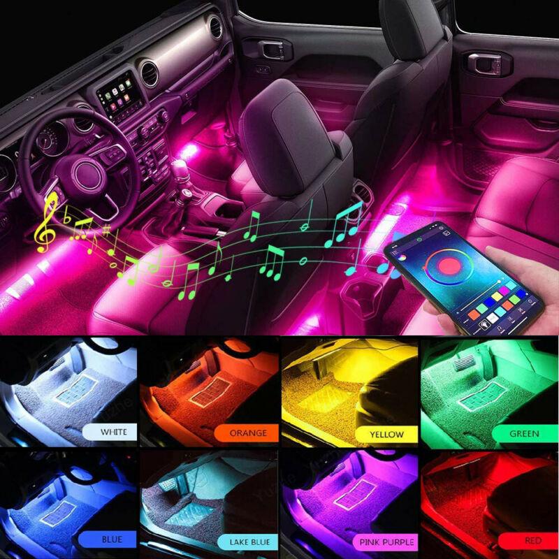 Auto Interni di Colore Rgb 4 Ha Condotto La Luce di Striscia Kit Senza Fili Del Telefono Cellulare App di Controllo di Musica di Controllo Automatico 16 di Colore per atmosfera