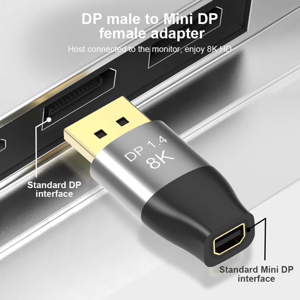 Адаптер MiniDP to DisplayPort 8K DisplayPort Male to minidp Female Video Audio Converter для портативных ПК проектора DP to minidp1.4