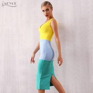Image 5 - Adyce vestido Bandage ajustado para mujer, vestido Sexy sin mangas con cuello de pico, vestido de fiesta, de noche, de celebridad, verano 2020