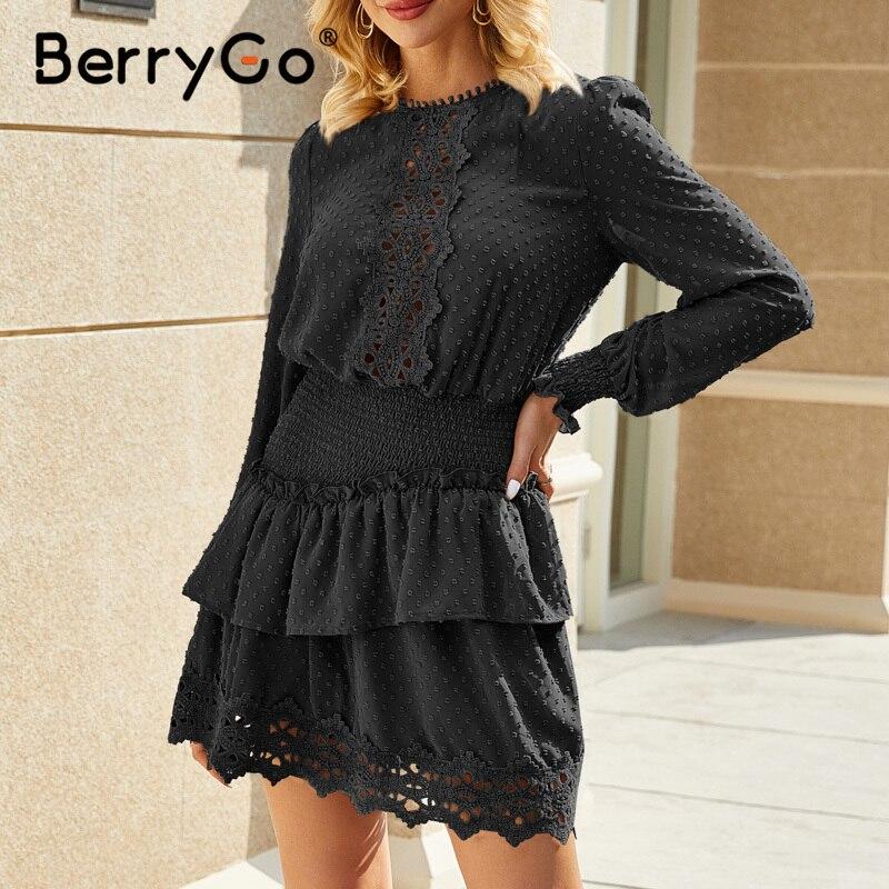 Image 5 - BerryGo Spring summer embroidery lace dress Elegant ruffle elastic waist women dress Polka dot ladies short dress female vestidoDresses   -