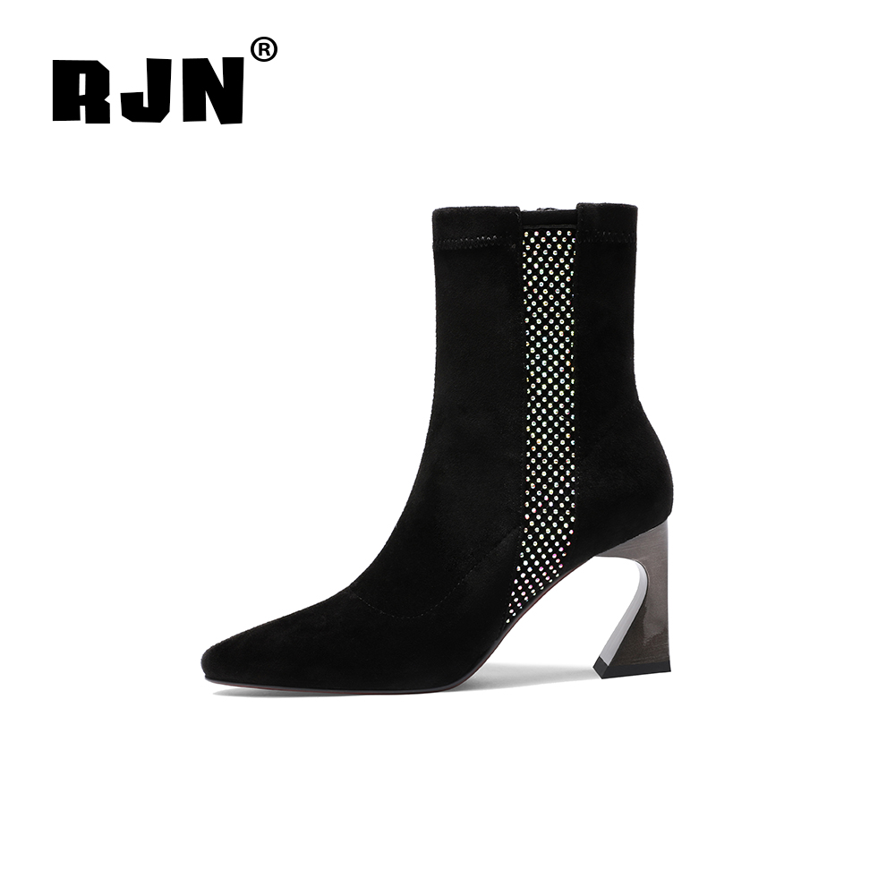 New RJN Flock Ladies Ankle Boots Small Dots Decoration Zipper Solid Sexy Pointed Toe Strange Style High Heel Women Winter Boots RO32