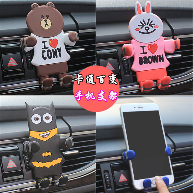 Image 4 - Cartoon Car Phone Holder for Phone In Car Air Vent Mount Stand No Magnetic Mobile Phone Holder Universal Gravity Smartphone Cell-in Phone Holders & Stands from Cellphones & Telecommunications