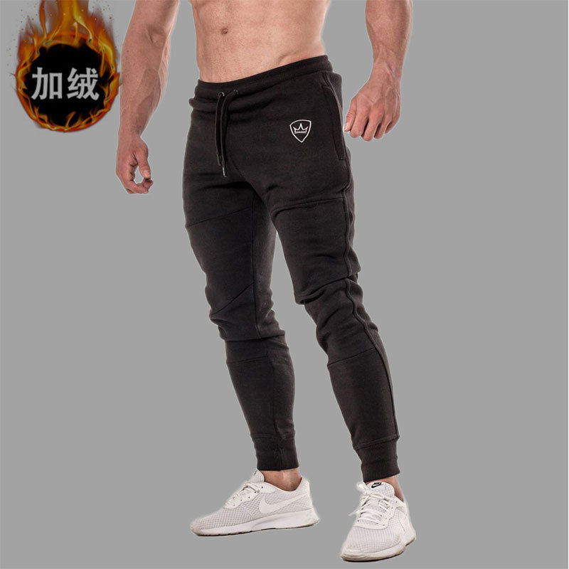 Muscle Fitness Brothers New Style Training Trousers Men Plus Velvet Running Fitness Athletic Pants Men's Sports Casual Pants