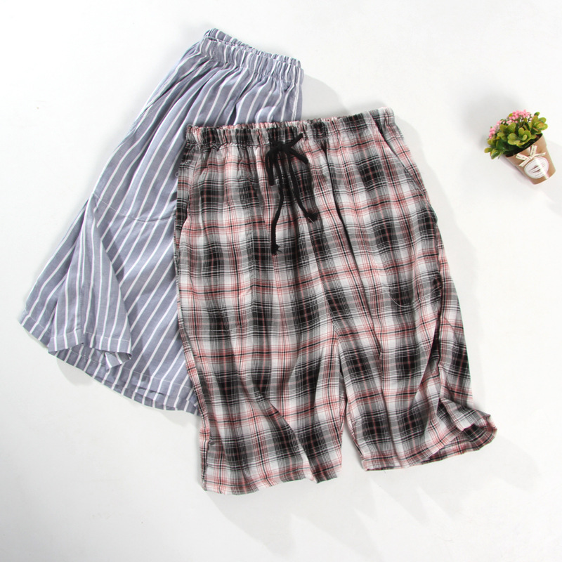 Summer Cotton Pajamas Men's Home Pants Cotton Five-point Pants Plaid Shorts Men's Cotton Beach Pants Thin Section Outer Wear