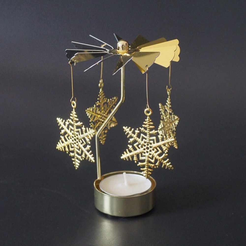פמוט מסתובב רומנטי ספין קרוסלת תה אור נר בעל לאור נרות ארוחת ערב מסיבת חג המולד דקור Snowflake איל