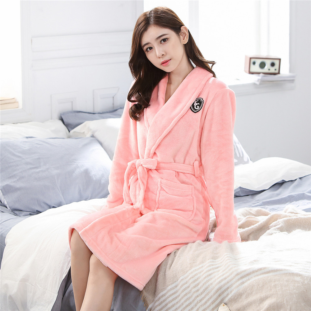 Pink Lady Bathrobe Sexy Loose Intimate Lingerie Women Flannel Warm Robe Ultra Thicken Winter Home Clothing Padded Negligee
