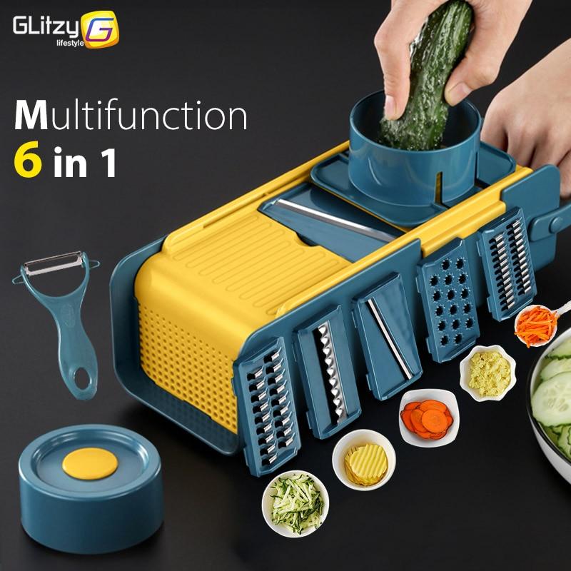 Vegetable Slicer 6 In 1 Multifunctional Fruit Potato Peeler Carrot Grater With Basket Zester Cutter Kitchen Accessories Tool Set