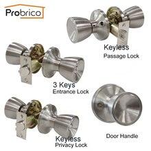 Probrico межкомнатные дверные кнопки замка вращения кнопки замка et ручки из нержавеющей стали дверные ручки Фурнитура для спальни ванной прохода