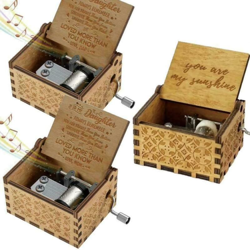 Wooden Music Box Mom Dad To Daughter Son You Are My Sunshine Theme Music Engraved Carved Wooden Hand Crank Toy Kid Birthday Gift in Music Boxes from Home Garden