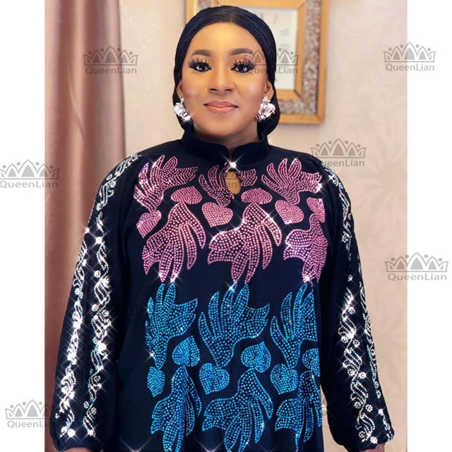 African Oversize African Loose Design Diamond Dress 1
