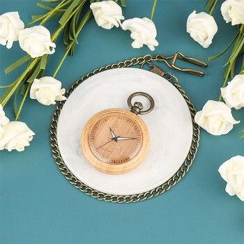 Engraving Eagle Luminous Hands Full Bamboo Wood Pocket Watch Quartz Movement Retro Bronze Chain Pendant Pocket Clock Gifts