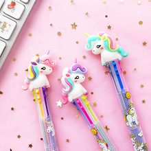 Lovely Unicorn Power 6 Colors Chunky Ballpoint Pen School Office Supply Gift Stationery Papelaria Escolar 1 pcs cartoon rainbow unicorn 6 colors silicone press ballpoint pens school office supply gift stationery