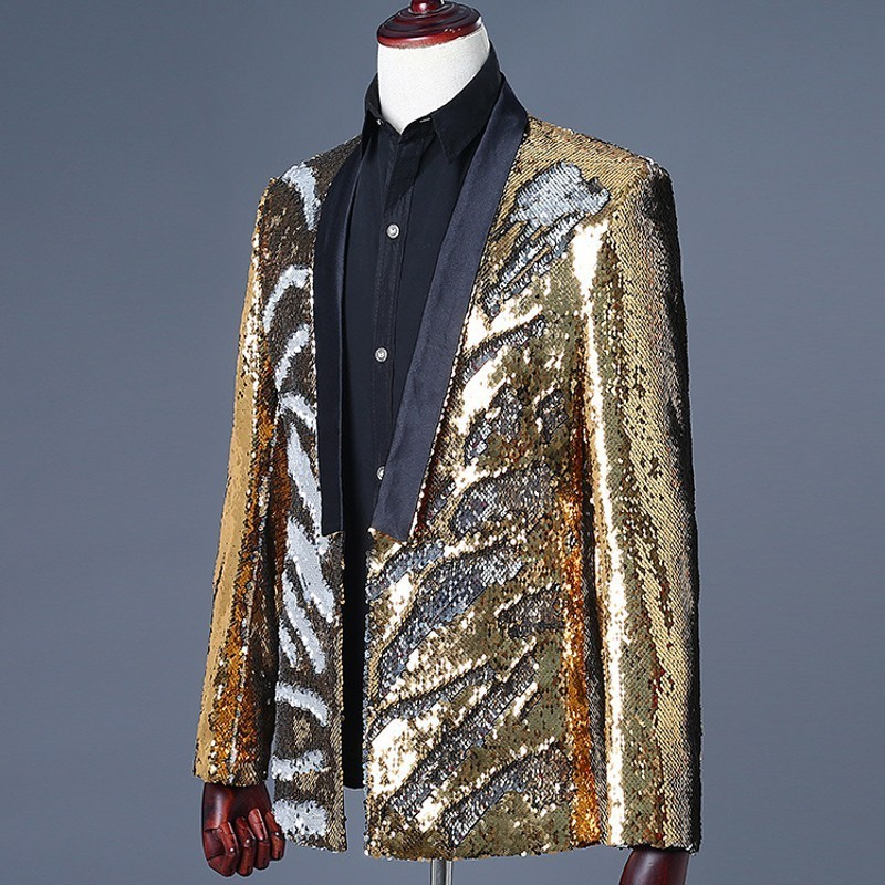 Mens Golden Sequins Blazer Suit Club DJ Glitter Magic Stage Show Slim Fit Blazer Jacket Man Casual Outwear Hombre Cardigan Coat