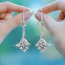 Luxury Female White Round Zircon Stone Long Dangle Earrings For Women Wedding Jewelry Vintage Fashion Blue Crystal Drop Earrings