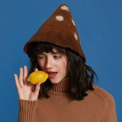 Handgemaakte Wolvilt Caps Vrouwen Vintage Wit Dot Hoed Herfst Winter Hoeden Vrouwelijke Leuke Ijs Hoed voor Dames Kerst gift Hoed S