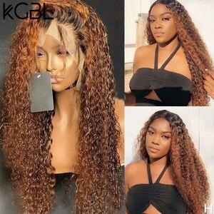 """Image 1 - KGBL кудрявые 360 Ombre передний парик человеческих волос с волосами ребенка 250 плотность 8 """" 24"""" бразильский Non Remy средний коэффициент для черных женщин"""