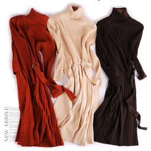 Fashion Elegant Turtleneck Women Sweater Dress Autumn Long Sleeve Knitted Female Pullover Cotton Slim Long Lady's Sweater Casual female autumn winter dress 2017 turtleneck long knitted sweater vestidos women slim bodycon dress casual pullover ws4716c