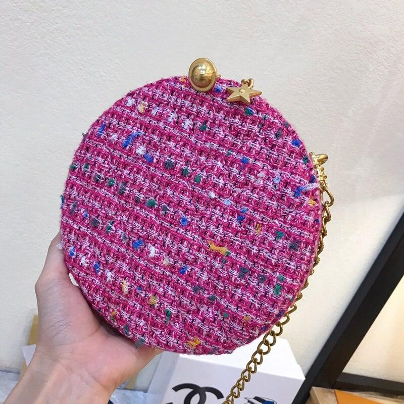 2019 Fashion Ronde Tas Vrouwen Circular Bag Vrouwelijke Schouder Crossbody Tas met Ketting Bell Sterren Geweven Handtas Vrouw Party Purse - 2