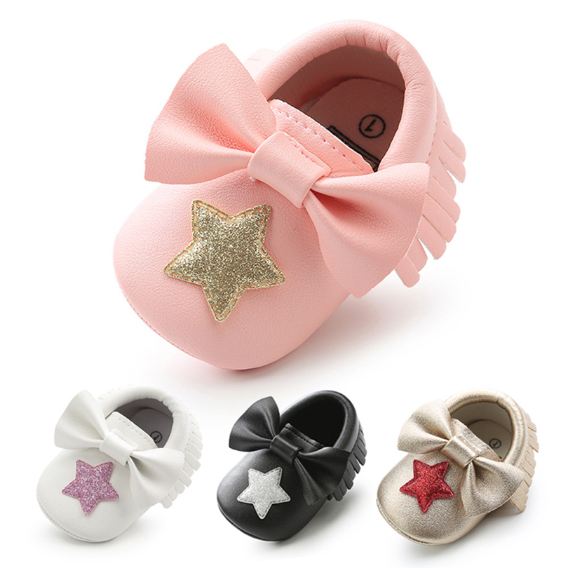 Newborns Baby Girls PU Shoes Cute Sequins Star Bowknot Tassel Fashion Toddler First Walkers Soft Anti-slip Kids Shoes 0-18M A20