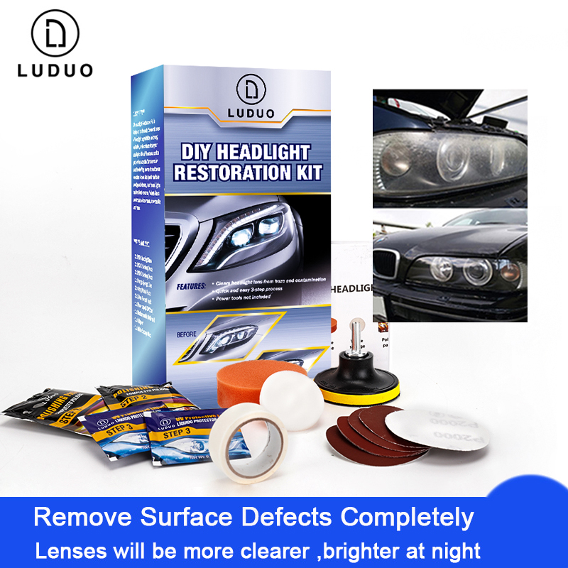 LUDUO DIY Headlight Polishing Restoration Kits Headlamp Clean Paste Systems Car Care Wash Head Lamp Brightener Repair Paint Care title=