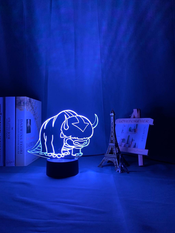 Hd6c47088409f4510b2e10df83c765d9bK Luminária Acrílico 3d Lâmpada Nightlight Avatar The Last Airbender para As Crianças Decoração Do Quarto Da Criança A Lenda de Aang Figura Mesa Appa luz da noite