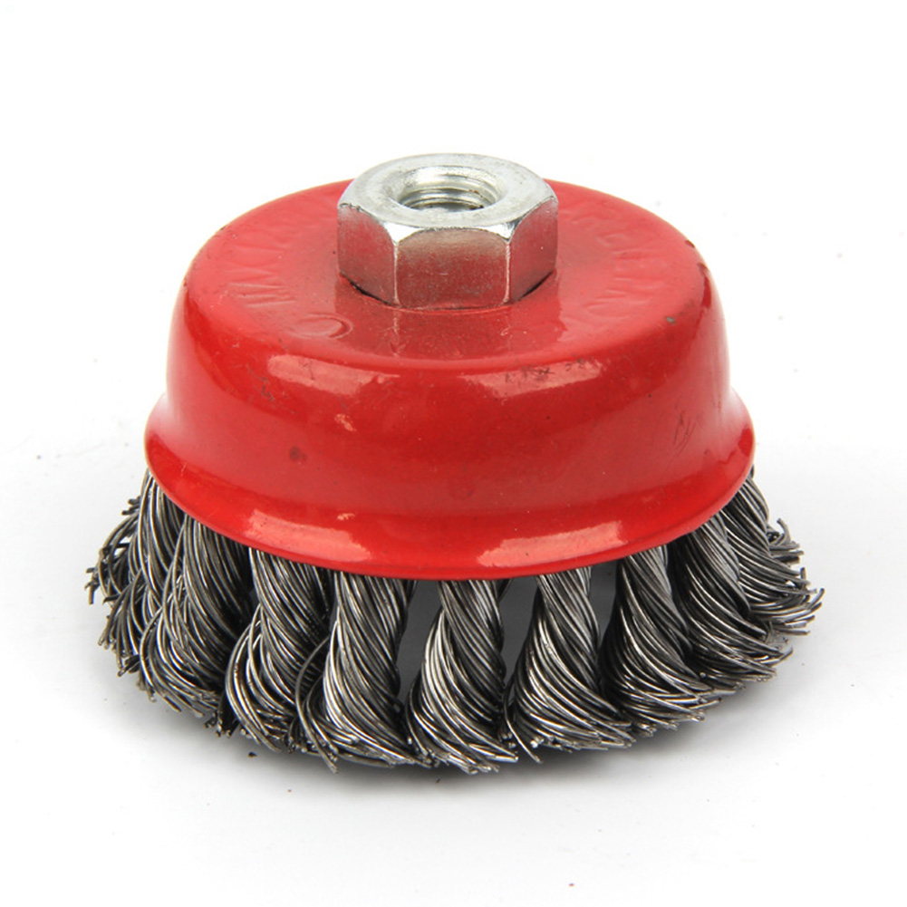 Metal Rotary Durable Rust Clean Steel Wire Wheel Paint Remove Quick Flat Cup Twist Knot Red Strong Deburring Angle Grinder Brush