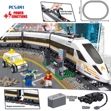 Classic City Train Rail Technic Battery Powered Electric High-speed Railway Building Blocks Bricks legoingly Toys For Kids gifts(China)