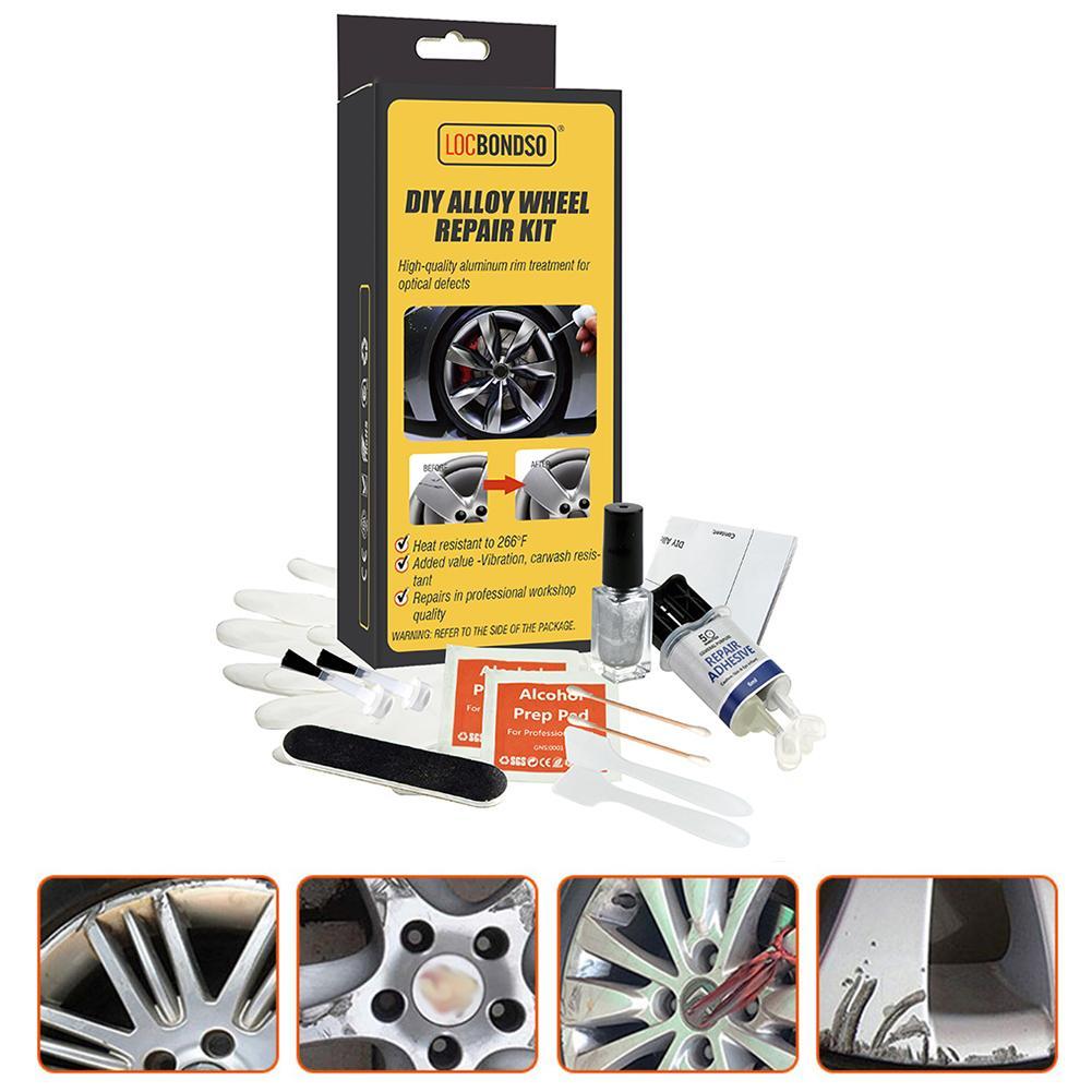 Набор для ремонта колес из сплава DIY, клей, универсальный серебристый автомобильный ободок, защита от царапин и царапин, уход за повреждение...