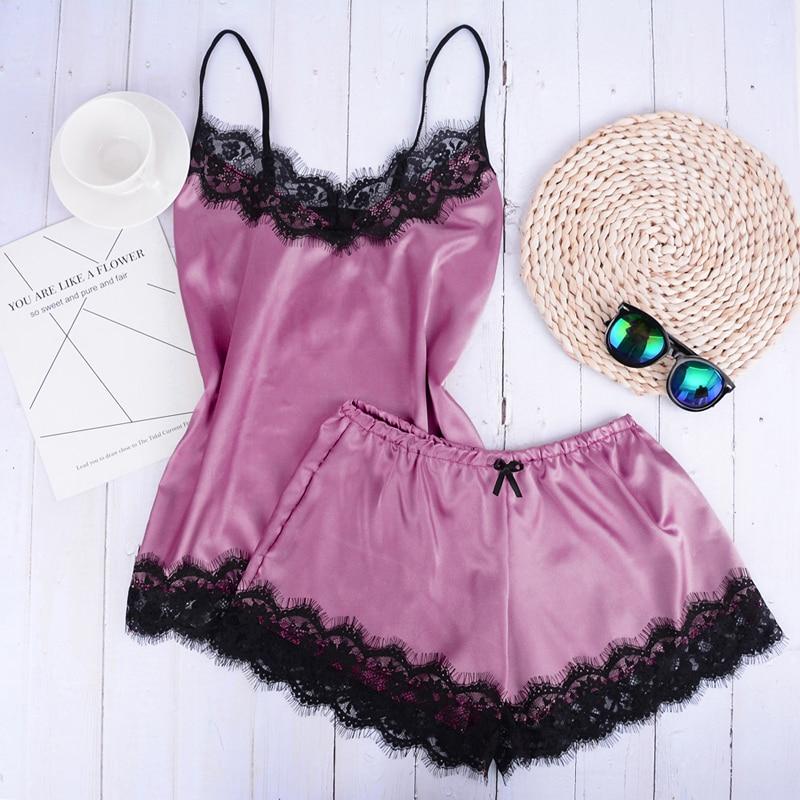 Sfit Sexy Lingerie Lace Sleepwear Nightdress Women Beach Dress Short Sleeveless Ladies Satin Nightgown Through La Sleepwear