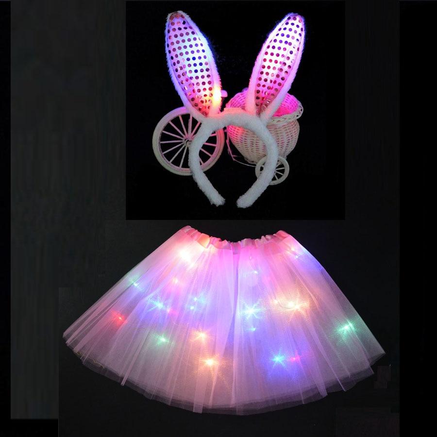 LED Glowing Light Kids Girls Princess Tutu Dresses Children Clothing Wedding Party Headband  Crown Rabbit Bunny Costume Cosplay