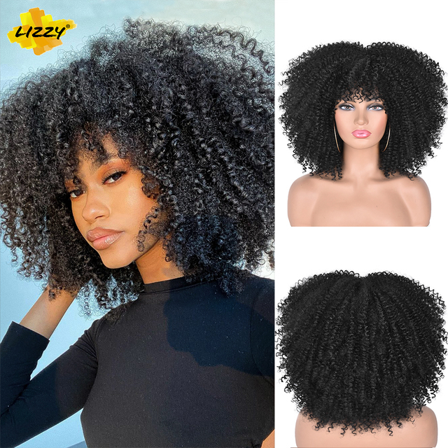 Short Hair Afro Kinky Curly Wigs With Bangs For Black Women African Synthetic Omber Glueless Cosplay Wigs High Temperature Lizzy 2