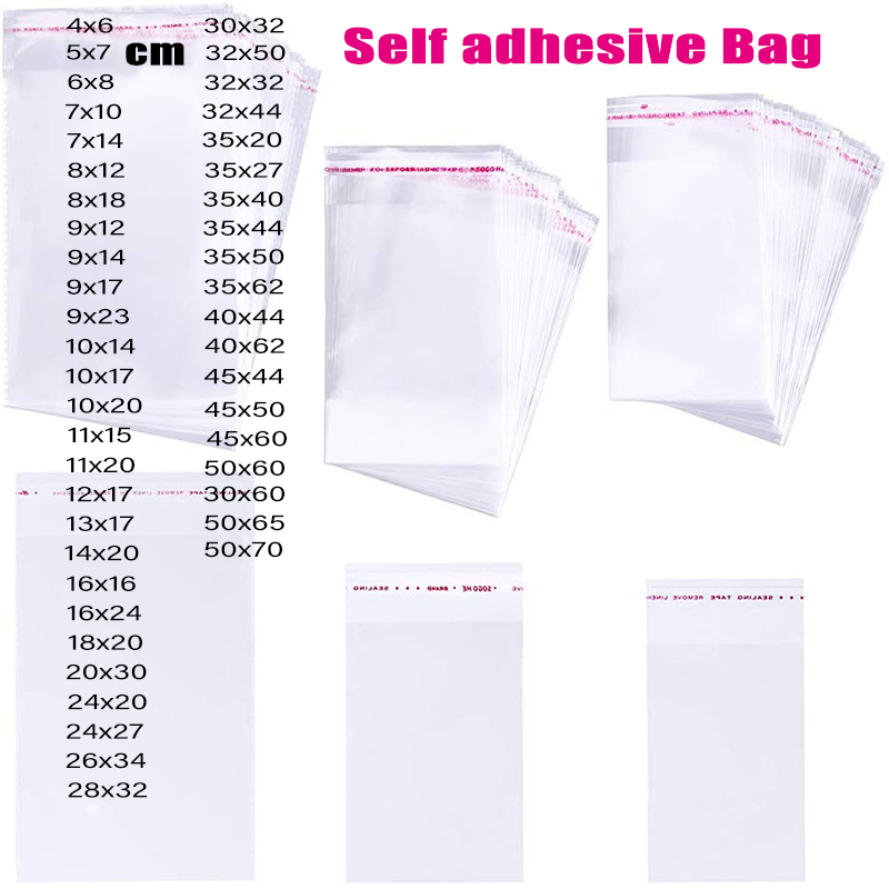 Hi-Q Thick Clear Self Adhesive Cellophane Bag Plastic Self Sealing Clothing Package Storage Bags Small Resealable OPP Poly Bag