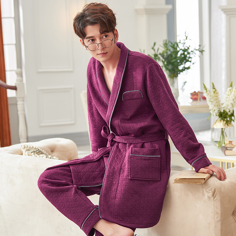 Winter 3 layers cotton kimono men robe pajamas sets simple thin quilted japanese Robe trousers for male plus size pyjamas Robes