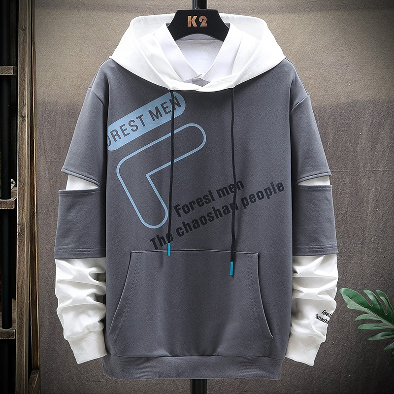 Fanwo FW5880 2020 Summer New Style Fashion Men Printed Letter Hoodie Casual Long-sleeved Sweater 4