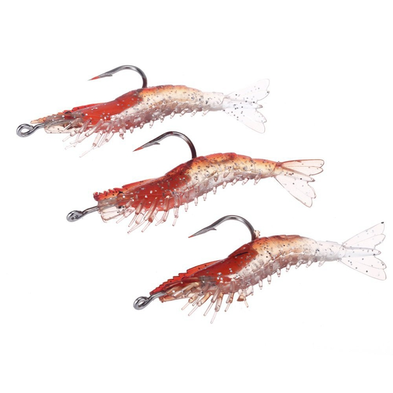 3Pcs 6cm/3g Artificial Fishing Lure Bionic Shrimp Prawn Soft Bait Fishing Tackle Noctilucent Luminous Lifelike with Hook Red