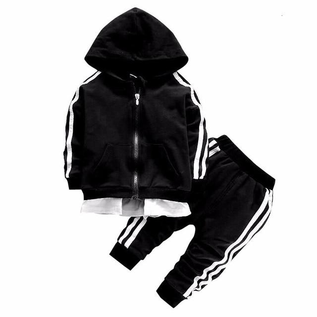 Casual Children Cotton Zipper Jacket Pants 2Pcs/Sets