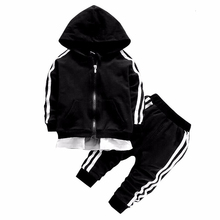 2020 Spring Baby Casual Tracksuit Children Boy Girl Cotton Zipper Jacket Pants 2