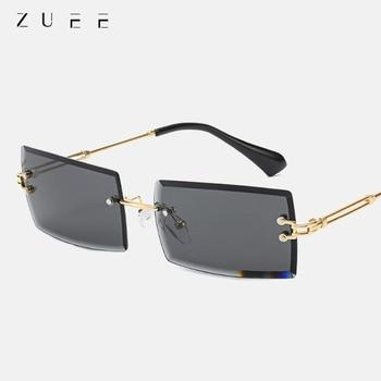 ZUEE Fashion Frameless Rectangular Sunglasses Women Men Street Shooting Trend Design Brand Shade Alloy Glasses UV400