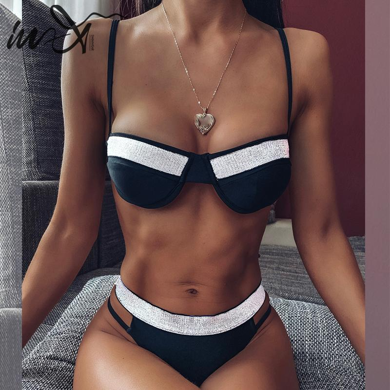 In-X Sexy Micro Bikini Set 2020 Shiny Black Swimsuit Female Bikinis Push Up Swimwear Women Bathing Suit Mini Swim Suit Femme