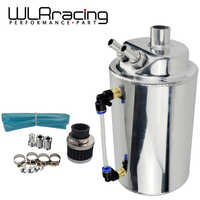 WLR RACING - 2L 2 LITRE ALUMINIUM POLISHED ROUND OIL CATCH CAN TANK WITH BREATHER FILTER WLR-TK01