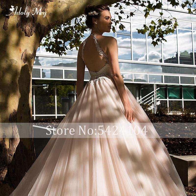 Image 5 - Adoly Mey Romantic Halter Neck Backless A Line Wedding Dress 2020 Luxury Beaded Sashes Appliques Court Train Vintage Bridal GownWedding Dresses   -