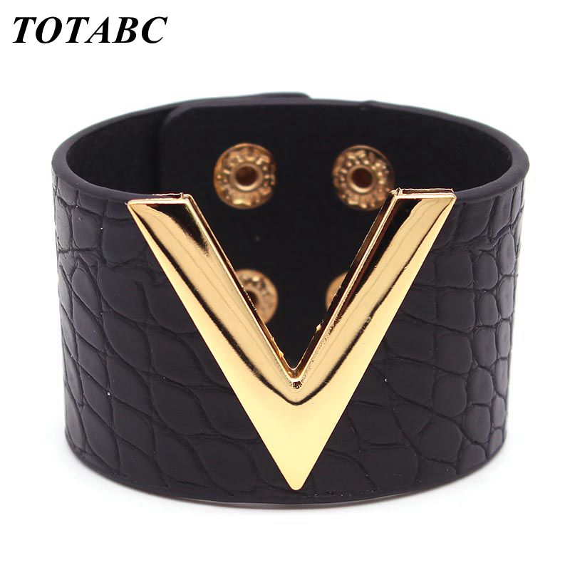 Europe Crack Leather Bracelet For Women Femme All-Match OL V Word Wide Punk Style Soft Jewellery Cool Wholesale