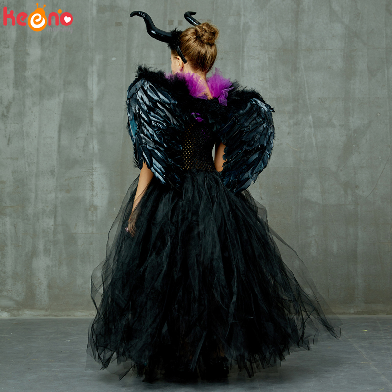 Maleficent Black Gown Tutu Dress with Deluxe Horns and Wings Girls Villain Fancy Dress Kids Halloween Cosplay Witch Costume 5