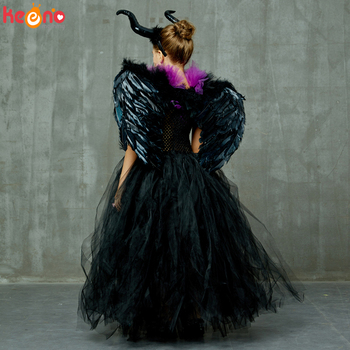 Maleficent Black Gown Tutu Dress with Deluxe Horns and Wings Girls Villain Fancy Dress Kids Halloween Cosplay Witch Costume 4