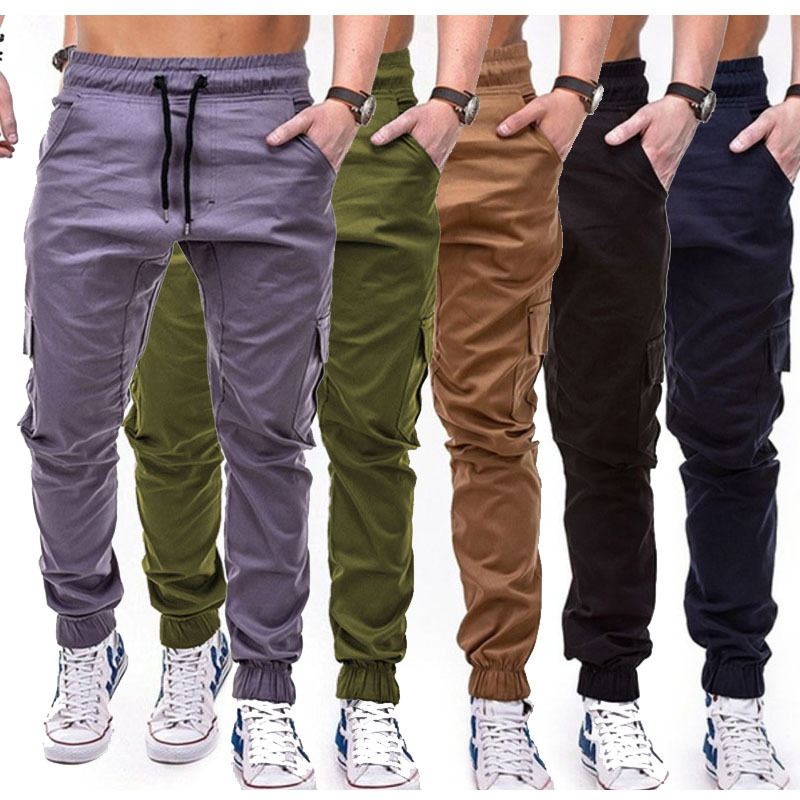 Trousers Men's 2019 Hot Selling Workwear Multi-pockets MEN'S Trousers Woven Fabric Casual Jogging Ankle Banded Pants