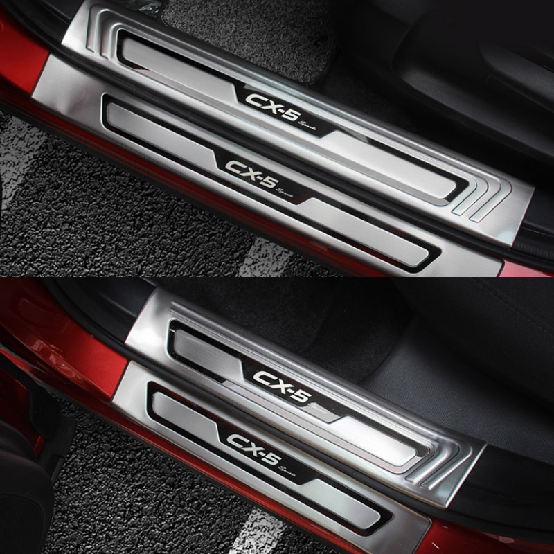 Image 4 - Vtear For Mazda CX 5 CX5 Accessories Car door sill protector scuff plate Trim stainless steel protection Plates Cover 2018 2019-in Chromium Styling from Automobiles & Motorcycles