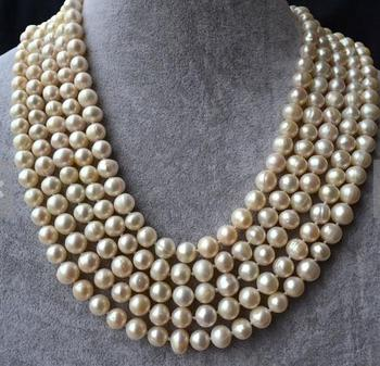 Unique Pearls jewellery Store 100 inches Long Pearl Necklace 8-9mm Round Genuine Freshwater Pearl Necklace