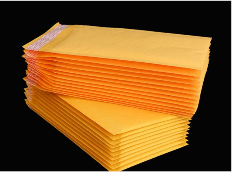 100pcs High Quality Yellow Kraft Bubble Mailers Padded Envelopes Shipping Bag Self Seal Business School Office Supplies 14 Size image