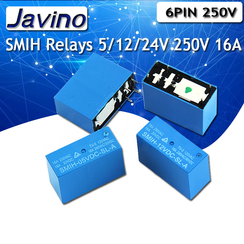 2PCS SMIH-05VDC-SL-A SMIH-12VDC-SL-C SMIH-24VDC-SL-C 05 12 24 <font><b>V</b></font> Relays 250V <font><b>16A</b></font> 6PIN A group of normally open image